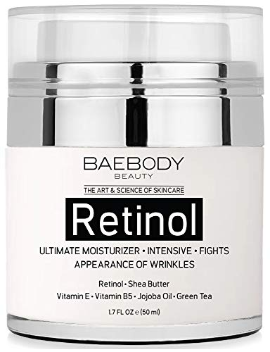 Baebody Retinol Moisturizer Cream for Face and Eye Area - With Retinol, Jojoba Oil, Vitamin E. Fights the Appearance of Wrinkles, Fine Lines. Best Day and Night Cream 1.7 Fl. Oz (Best Otc Eye Cream)