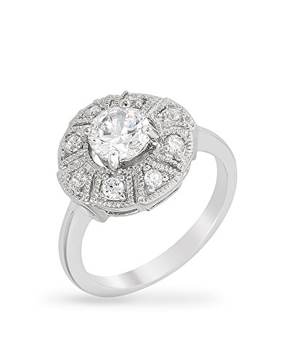 Genuine Rhodium Plated Antique Milgrain Style Ring Featuring Cubic Zirconia Cluster with Round CZ Size 9 (Rhodium Plated Antique Style Ring)