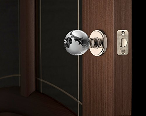 Décor Living, AMG Global, and Enchante Accessories Modern Globe Crystal Door Knobs, Passage Function for Hall and Closet, ATLAS Collection, DK02L NKL, Polished Nickel Globe Knob