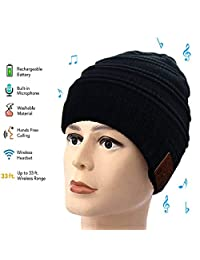 Number-One Bluetooth Beanie Hat, Winter Knit Music Cap Warm Thicken Fleece Lined Hat with Wireless Heatset Stereo Speaker Mic Handsfree for Outdoor Sports Running Skiing Walking
