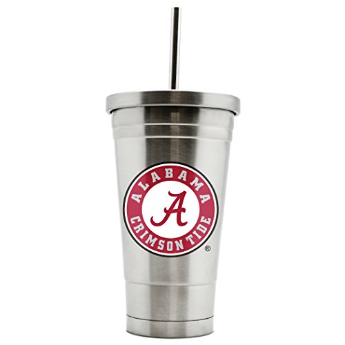 NCAA Alabama Crimson Tide 17oz Double Wall Stainless Steel Thermo Tumbler with Straw (Crimson Tide Alabama Thermos)