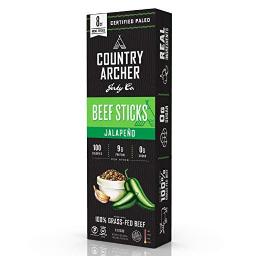 Jalapeno Beef Sticks by Country Archer | 100% Grass-Fed | Certified Keto, Paleo, Gluten Free | 8 Count