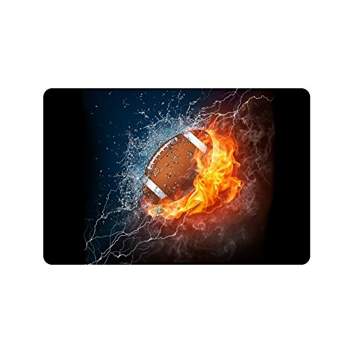 InterestPrint American Football in Fire and Water Non-Slip Indoor and Outdoor Door Mat Rug Home Decor, Entrance Rug Floor Mats Rubber Backing, 23.6