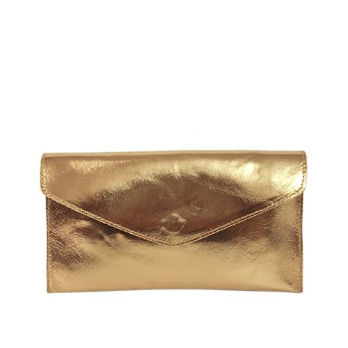 Craze London - Cartera de mano para mujer S Metalic Dark Gold
