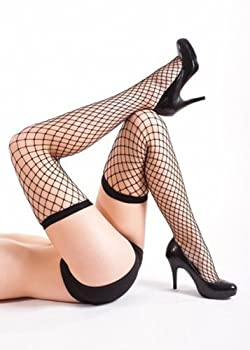 July Women Small Hole Tight High Fishnet Stay-Up Stockings