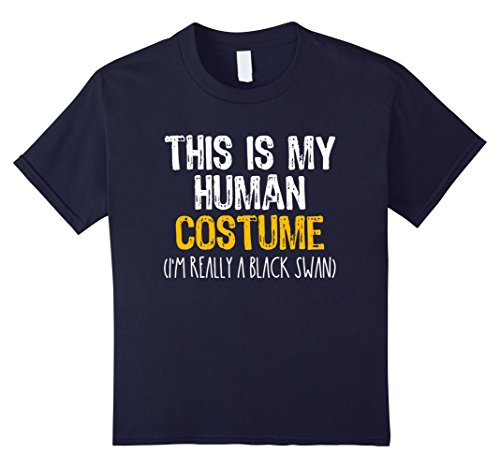 Black Swan Halloween Costume For Kids (Kids This Is My Human Costume Black Swan Halloween Funny T-shirt 12 Navy)