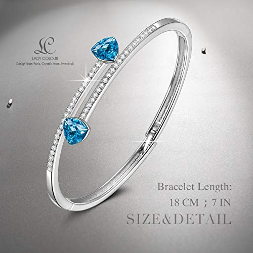 LADY COLOUR Pole to Pole Aquamarine Infinity Bangle Bracelet Necklace for Women, Crystals from Swarovski Hypoallergenic Jewelry Gift Box Packing, Nickel Free Passed SGS Test