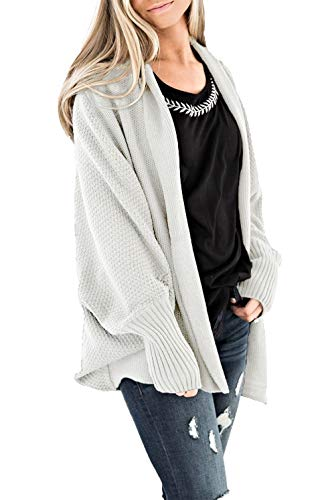 (HZSONNE Women's Casual Long Bat Wing Sleeve Open Cardigan Chunky Crochet Slouchy Wrap Sweater Blouse Knitted Tops (White, One)