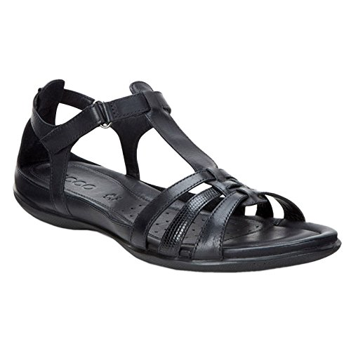 Ecco   Womens Flash T-Strap Gladiator Sandal, Black, 38 EU/7-7.5 M US ()