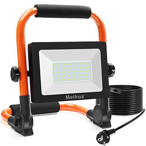 MEIHUA 60W LED Baustrahler 6000LM LED Strahler IP66 Wasserdicht Arbeitsleuchte 3.5M Kabel Flutlicht LED Fluter mit…