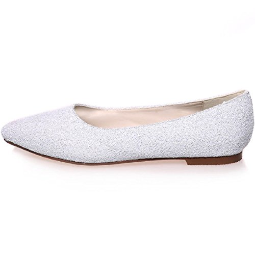 Shoes Wedding Szxf2046 Size Flats Toe Ivory Sarahbridal Party Women Pointed 07a 07a Bridal fWzqBRIY