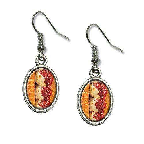 Meatball Sub Sandwich - Hero Hoagie Grinder Novelty Dangling Drop Oval Charm Earrings