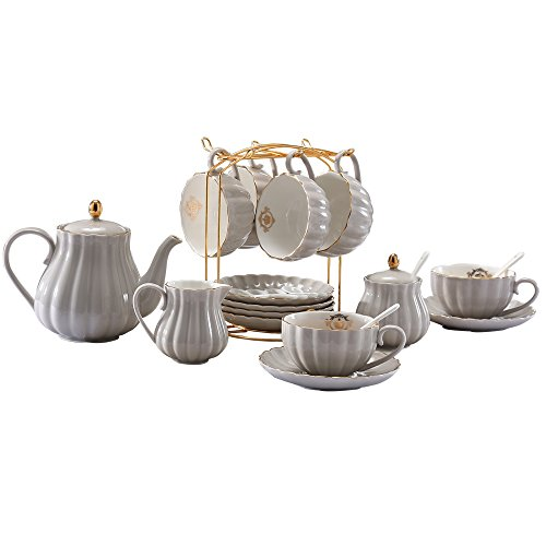 YoungQI Porcelain Tea Coffee Sets with Teapot Sugar Bowl Cream Pitcher Teaspoons and tea strainer for Tea/Coffee, Cups& Saucer Service for 6 (Light Gray)