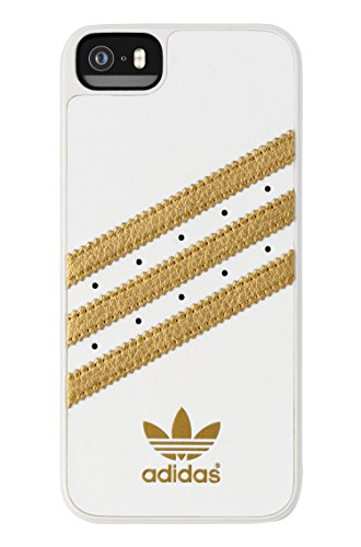 Price comparison product image adidas Molded Cell Phone Case for Apple iPhone 5S/SE - Retail Packaging - White/Gold