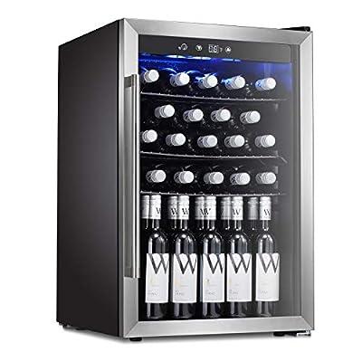 Antarctic Star Wine Cooler Beverage Refrigerator 36 Bottles Beer Soda Cellar Fridge Freestanding Chiller Stainless Steel & Quiet Counter Top Operation Compressor Glass Door/Digital Memory Office/Dorm