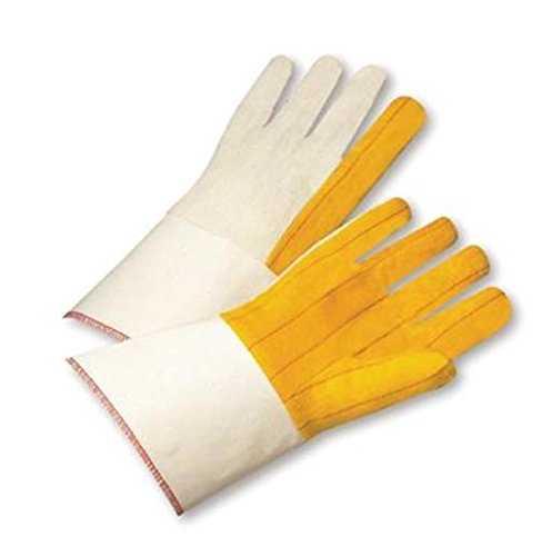 Gauntlet Cuff Chore Gloves (Radnor(R) Men's White And Gold 16 Ounce 100% Cotton Chore Gloves With Gauntlet Cuff, Straight Thumb, Canvas Back And Rayon Lining)