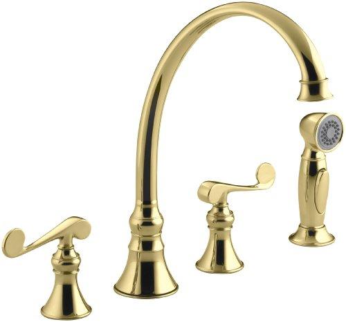 KOHLER K-16109-4-PB Revival Kitchen Sink Faucet, Vibrant Polished Brass