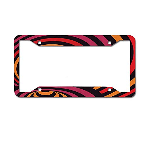 MichelleSmithred Modern Wavy Lines Design Bullseye Style Circles Contemporary Abstract Pattern License Plate Frame Aluminum Car tag Cover 4 Holes and Screws for US and Canada