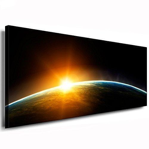 Kunstdruck Sonnenuntergang Im Weltraum / Bild 120x50cm / Leinwandbild fertig auf Keilrahmen / Leinwandbilder, Wandbilder, Poster, Pop Art Gemälde, Kunst - Deko Bilder