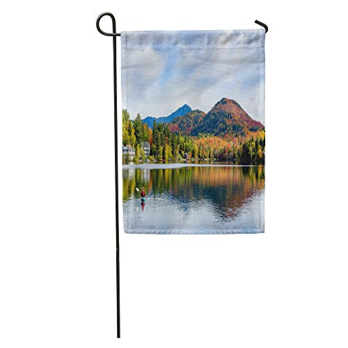 Semtomn Garden Flag Panoramic View of Mirror Lake in Placid New York Home Yard House Decor Barnner Outdoor Stand 12x18 Inches - Mirror Lake Adirondacks
