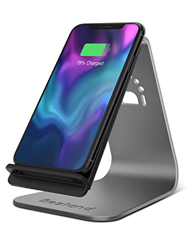 Bestand Fast Wireless Charger 2-Coil Charging Stand Holder for All Qi-Enabled Devices (Grey)