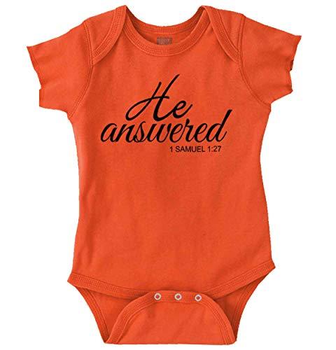 He Answered Prayers Newborn Christian Bible Romper Bodysuit ()