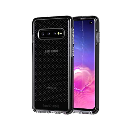 (tech21 - Evo Check - for Samsung Galaxy S10 - Mobile Phone Case with a Unique Check Pattern - Thin and Light Cellphone Case - Phone Casing for Drop Protection of 12FT or 3.6M (Smokey/Black))