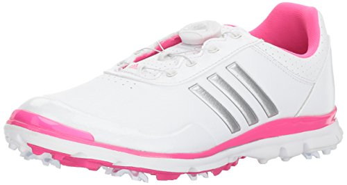adidas Women's Adistar Lite BOA Golf Shoe, White/Silver Metallic/Shock Pink S, 8 M US