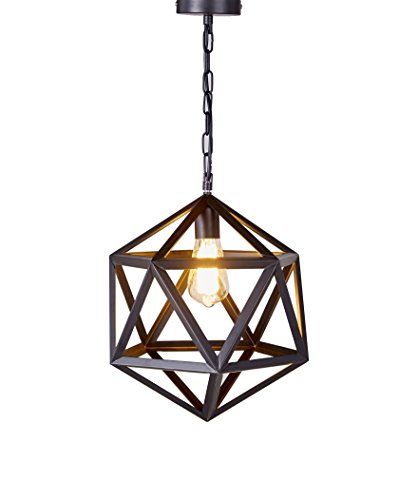 Diamond Life Lighting 1 Light Metal Geometric Pendant Ceiling Lamp Fixture, 12-inch, Antique Black