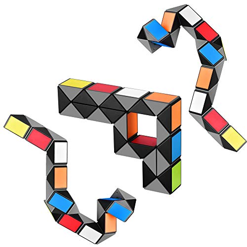 (Speed Cube Snake Ruler Twisty Fidget Cube Puzzle Pack Stickerless Magic Snake Game Toys Collection Brain Teaser for Kids (24 Parts)
