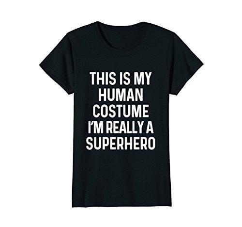 Womens Funny Superhero Costume Shirt Halloween Kids Adult Men Women XL Black - Halloween Costume 90's Ideas