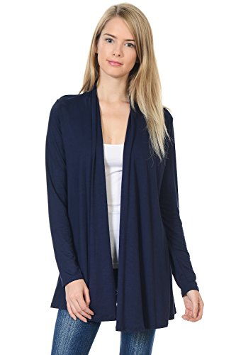 Navy Cardigan Sweater - Pastel by Vivienne Women's Long Sleeve Jersey Cardigan X-Large Navy