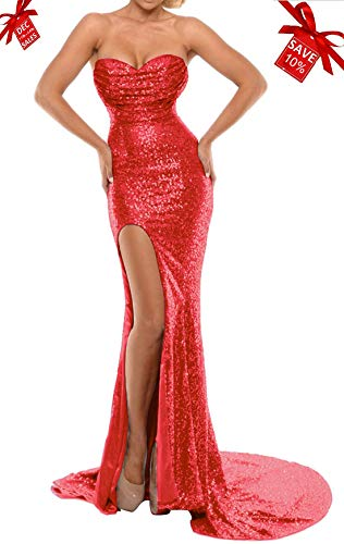 BEAUTBRIDE Women's Sexy Strapless Mermaid Evening Dress with Slit 2018 New Red B -