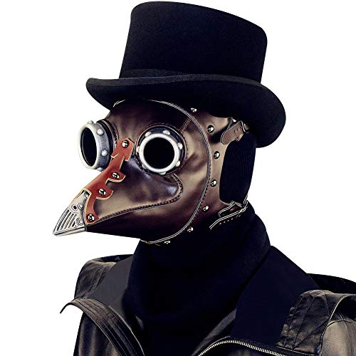 Plague Doctor Mask,A&C Hero Bird Beak Mask Long Nose,Steampunk PU Halloween Mask -
