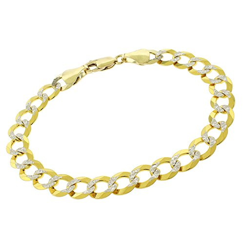14k Yellow Gold 8.5mm Solid Cuban Curb Link Diamond Cut Two-Tone Pave Bracelet Chain 8'' by In Style Designz