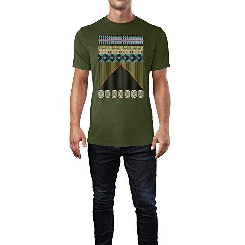 SINUS ART ® Bunter Azteken Print Herren T-Shirts in Armee Grün Fun Shirt mit tollen Aufdruck