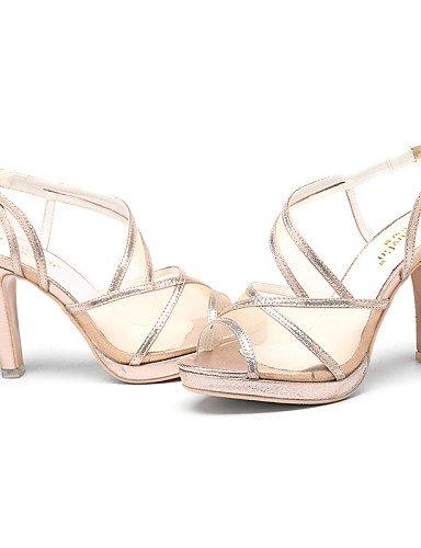 LFNLYX Zapatos de mujer-Tacón Stiletto-Punta Abierta-Sandalias-Boda / Oficina y Trabajo / Vestido / Casual / Fiesta y Noche-Purpurina-Plata / Oro Silver