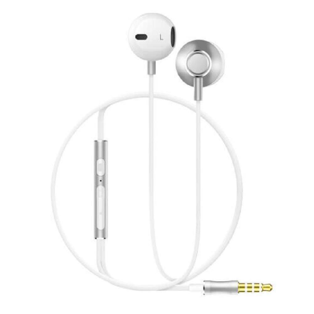 Noise Isolating In Ear Earphones Headphones with Microphone Pure Sound Powerful Bass Wired Earbuds Headset Compatible with iPhone iPad Samsung Honor Huawei Galaxy-(Gray)