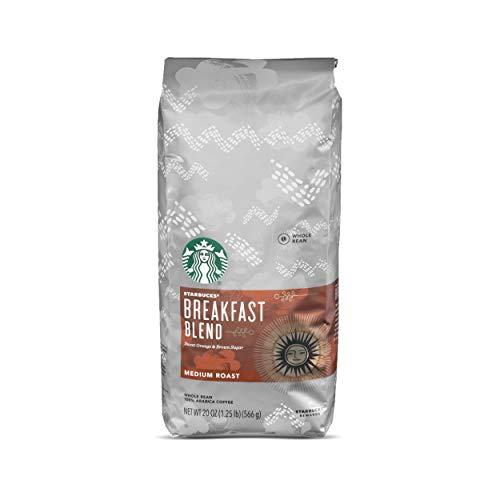 Starbucks Breakfast Blend Medium Roast Whole Bean Coffee, 20 Ounce