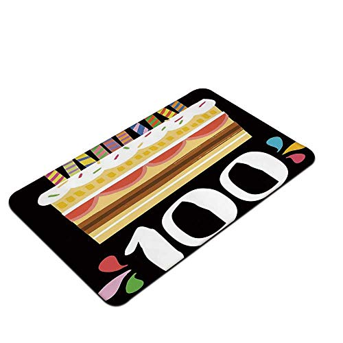 """YOLIYANA 100th Birthday Decorations Non Slip Doormat,Old Legacy 100 Birthday Party Cake Candles on Black Backdrop for Office,23"""" L x 15"""" W"""