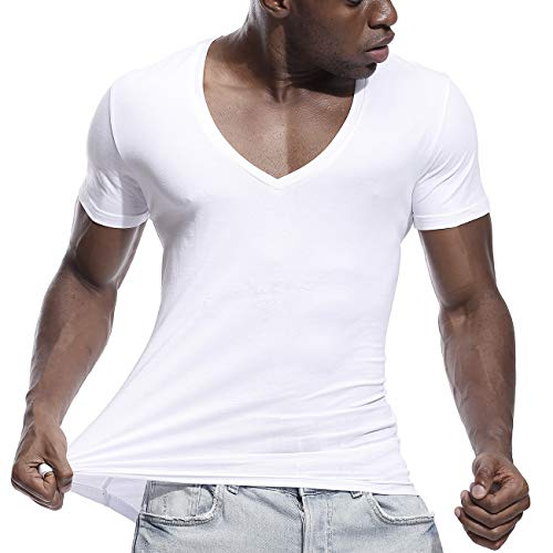 Mens Deep V Neck T Shirts Slim Fit Basic Tee Shirt Short Sleeve Sexy Top White ()