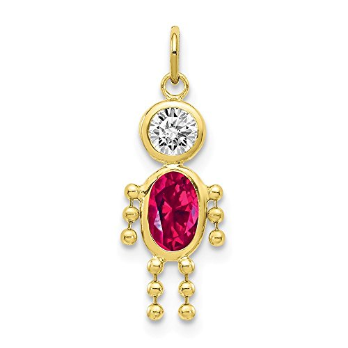 10k Yellow Gold July Boy Birthstone Pendant Charm Necklace Kid Fine Jewelry Gifts For Women For Her