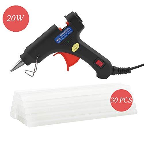 (Hot Glue Gun, 20W Honeycraft Heavy Duty Melt Mini Glue Gun Kit DIY with 30 PCS Hot Melt Glue Sticks for Small Projects,Arts and Crafts,Home Quick Repairs, Artistic Creation, Black )