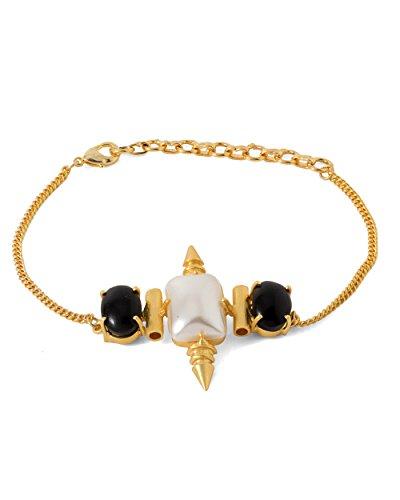 Voylla Women's Link Bracelet Adorned With Black And White Stone by Voylla