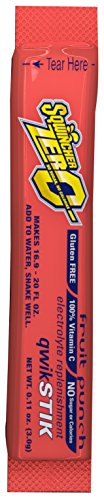 Sqwincher 060102-FP .11 Ounce Qwik Stik Zero Instant Powder Concentrate Stick Fruit Punch Electrolyte Drink - Yields 20 Ounces (50 Each Per Package), English, 61.36 fl. oz, Plastic, 1 x 1 x 1 ()