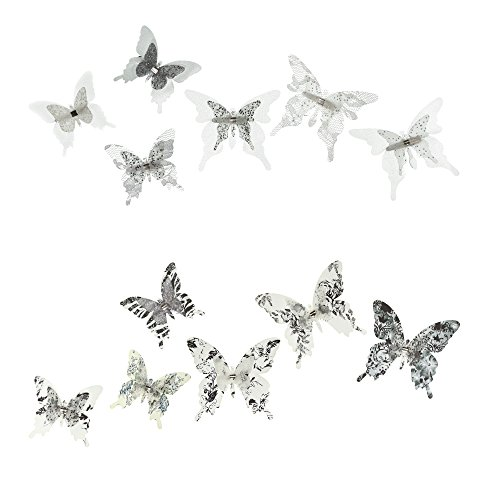 Butterfly Lace Wall (Roser Life Craft Butterflies⎮Decorative Artificial Butterfly Clips⎮Silk Fabric Butterfly Decorations⎮Floral Butterflies⎮Handmade Vintage Ornament⎮Party Garden Outdoor Decor Black White (Pack of 12))
