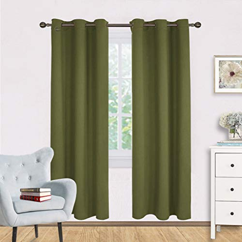 NICETOWN Living Room Blackout Window Curtains Thermal Insulated Solid Grommet Blackout Drapery Panels (One Pair,42 by 72-Inch,Olive -