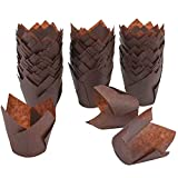 Resinta 150 Pieces Tulip Baking Cups Cupcake Liners Muffin Liners for Birthday,Wedding, Baby Shower, Brown
