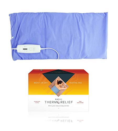 Electric Heating Pads for Back Pain and Cramps by ThermoRelief Basic - Extra-Large Moist Heat Blanket with Auto Shut Off