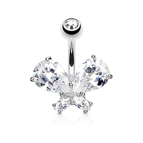 Pierced Owl CZ Crystal Butterfly Belly Button Ring - Butterfly Ring Cubic Zirconia Button Belly